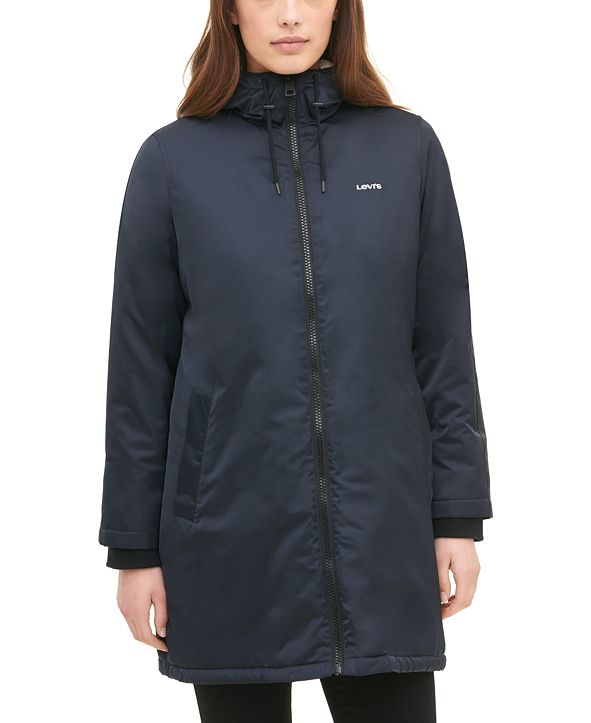 Levi's Women's Long Coaches Jacket with Soft Sherpa Lining ...