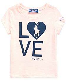 Big Girls Pink Pony Love Heart Jersey T-Shirt