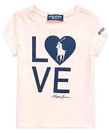 Polo Ralph Lauren Big Girls Pink Pony Love Heart Jersey T-Shirt