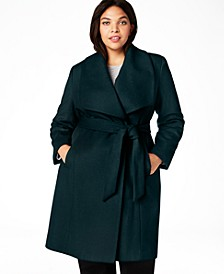 Plus Size Belted Wrap Coat