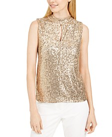 Sequin Mock-Neck Keyhole Top