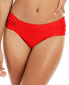 RACHEL Rachel Roy Boardwalk Basics Ruched-Side Bikini Bottoms