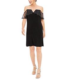 MSK Illusion-Mesh Off-The-Shoulder Dress
