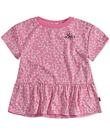 Little Girls Star-Print Peplum-Hem T-Shirt