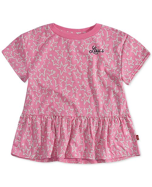 Levi's Little Girls Star-Print Peplum-Hem T-Shirt