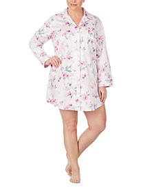 Plus Size Cotton Sateen Floral-Print Sleep Shirt