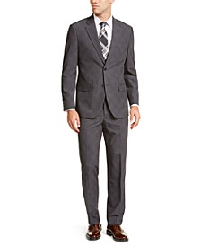 Men's Modern-Fit Bi-Stretch Dark Gray Plaid Suit