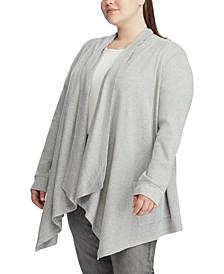 Plus Size Waffle-Knit Cardigan