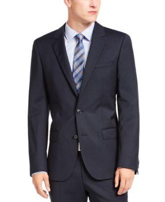 HUGO Hugo Boss Men's Slim-Fit Navy Blue Stripe Suit Jacket