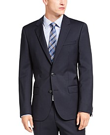 Men's Slim-Fit Navy Blue Stripe Suit Jacket