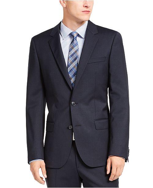 HUGO HUGO Hugo Boss Men's Slim-Fit Navy Blue Stripe Suit Jacket