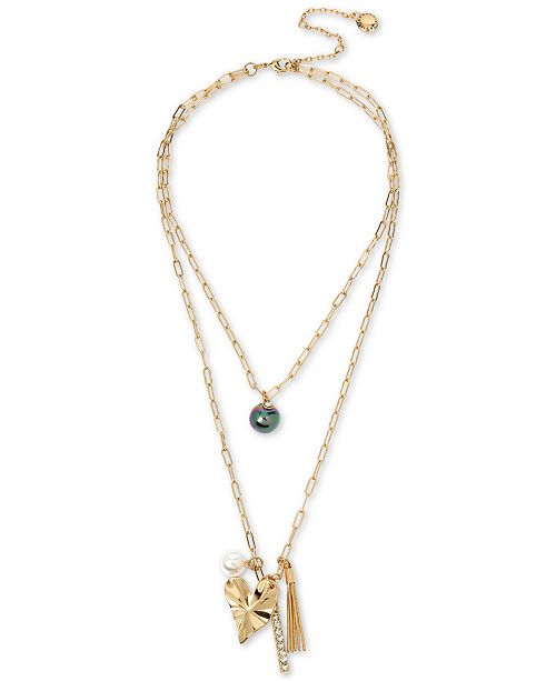 "BCBGeneration Gold-Tone Crystal, Imitation Pearl & Crinkle Heart Layered Pendant Necklace, 15"" + 3"" extender"