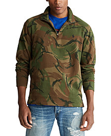 Polo Ralph Lauren Men's Big & Tall Camo Quarter-Zip Pullover Sweater