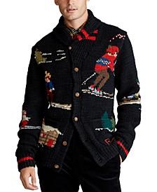 폴로 랄프로렌 Polo Ralph Lauren Mens Skier Hand-Knit Wool Blend Cardigan,Black