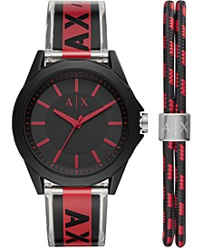 Men's Drexler Black & Red Polyurethane Strap Watch 44mm Gift Set
