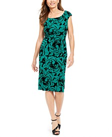 Petite Flocked Velvet Sheath Dress