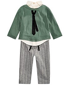 Baby Boys 2-Pc. Layered-Look Necktie Top & Striped Pants Set, Created For Macy's
