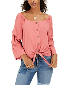 Crave Fame Juniors' Tie-Front Blouse