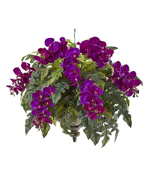 "Nearly Natural 25"" Phalaenopsis Orchid and Holly Fern Artificial Plant in Metal Hanging Bowl"