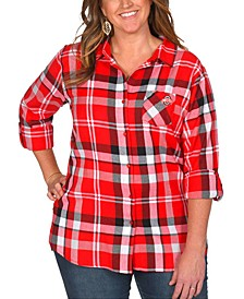 UG Apparel Women's Plus Size Ohio State Buckeyes Flannel Boyfriend Plaid Button Up Shirt