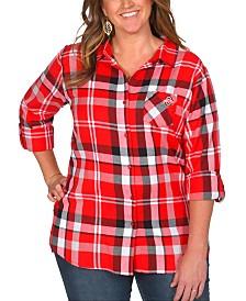 UG Apparel Women's Plus Size Ohio State Buckeyes Flannel Boyfriend Plaid Button Up Shirt
