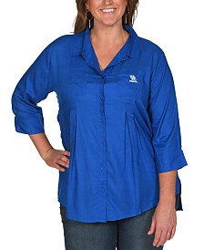 UG Apparel Women's Plus Size Kentucky Wildcats Front Pleat Button Up Shirt