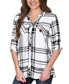 UG Apparel Women's Louisville Cardinals Satin Weave Plaid Button Up Shirt