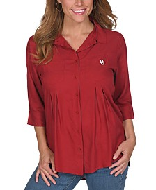 UG Apparel Women's Oklahoma Sooners Front Pleat Button Up Shirt