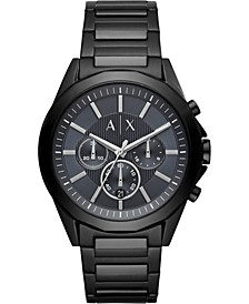 Men's Chronograph Drexler Black & Gunmetal Stainless Steel Bracelet Watch 44mm