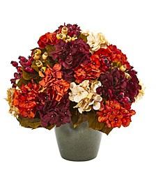 "20"" Autumn Hydrangea Artificial Arrangement in Green Vase"