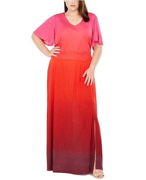 INC Plus Size Ombré Flutter-Sleeve Maxi Dress, Created For Macy\'s
