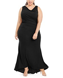 Plus Size Draped Cowlneck Gown