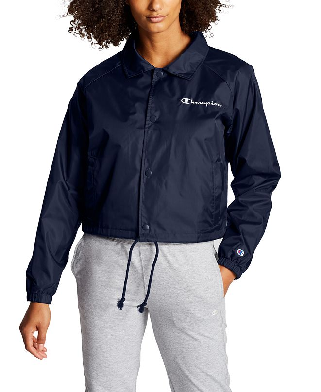 Champion Women's Heritage Water-Repellent Cropped Coach's Jacket