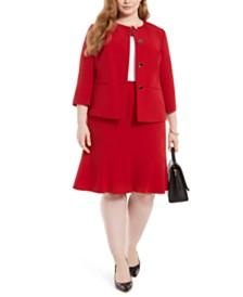 Le Suit Plus Size Crewneck Flare-Hem Skirt Suit