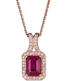 "Certified Ruby (1-1/2 ct. t.w.) & White Sapphire (1/5 ct. t.w.) 18"" Pendant Necklace in 14k Rose Gold (Also in Sapphire & Emerald)"