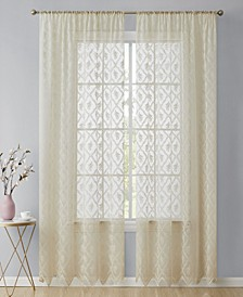 Lumino Melbourne Floral Sheer Voile Rod Pocket Curtain Panels - 54 W x 84 L - Set of 2
