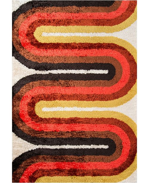 Novogratz Collection Novogratz Retro Ret-2 Red Area Rug Collection
