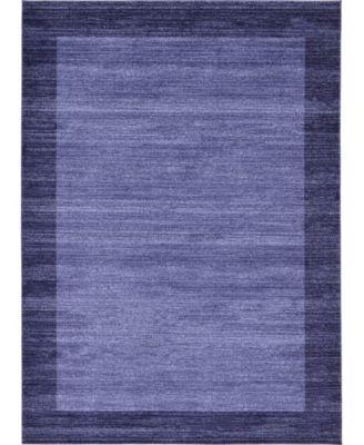 Lyon Lyo4 Navy Blue 8' x 8' Square Area Rug