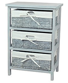 Wooden Storage Cabinet Chest with Maize Basket Style Drawers