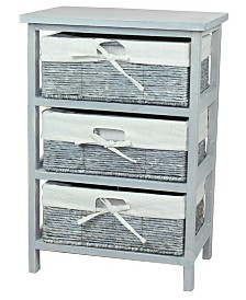 Vintiquewise Wooden Storage Cabinet Chest with Maize Basket Style Drawers