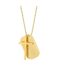 """Steeltime Men's 18k gold Plated Stainless Steel 24"""" Ball Chain with Cross / Lords Prayer Dog Tag Pendants Necklaces"""