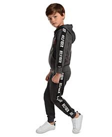 Little Boys Wyatt Full-Zip Logo Hoodie & Shango Side Stripe Fleece Sweatpants