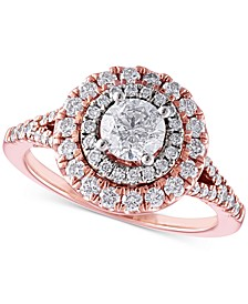Certified Diamond Double Halo Engagement Ring (1-1/3 ct. t.w.) in 14k Rose Gold