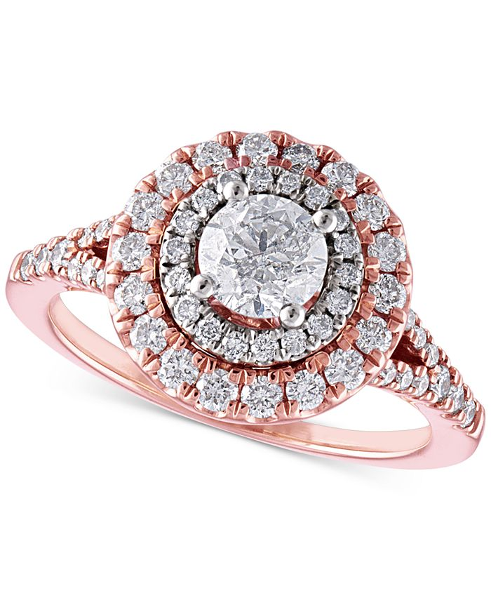 Macy's - Certified Diamond Double Halo Engagement Ring (1-1/3 ct. t.w.) in 14k Rose Gold