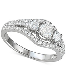 Diamond Three Stone Engagement Ring (1 ct. t.w.) in 14k White Gold