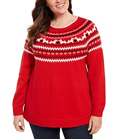 Plus Size Fair-Isle Printed Sweater, Created For Macy's