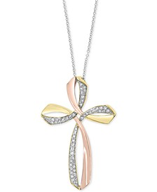 """EFFY® Diamond Two-Tone Cross 18"""" Pendant Necklace (1/6 ct. t.w.) in 14k Gold & 14k Rose Gold"""