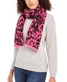 Fuzzy Animal Print Knit Scarf