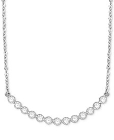 "Diamond Circular Setting 18"" Pendant Necklace (1/2 ct. t.w.) in 14k White Gold"
