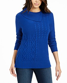 Patchwork-Stitch Asymmetrical-Collar Sweater, Created for Macy's